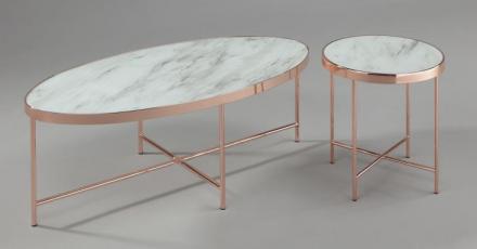 TABLE BASSE RONDINI 110X55 HAUTEUR 40CM BRONZE + VITRE EFFET MARBRE